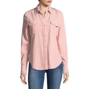 FRAME Denim Faded Military Button Down Shirt Top
